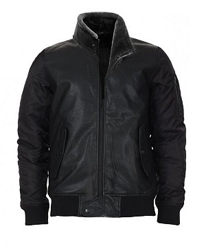 MNKY BOMBER LEATHER BLACK WINTER SKINNJACKA