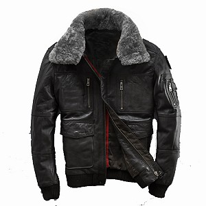 MNKY VULCANO BOMBER LEATHER BLACK WINTER SKINNJACKA