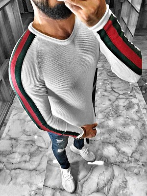 BLK STRIPE SWEAT 49 WHITE