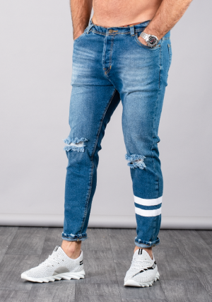 SUPREME AV8 RIPLINE LIGHT BLUE CARROT FIT JEANS
