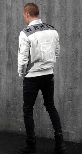 WRKLS BOMBER JACKET LEATHER WHITE SKINNJACKA