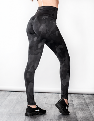 SHAPELAB BLACK CAMO SCRUNCH LEGGINGS